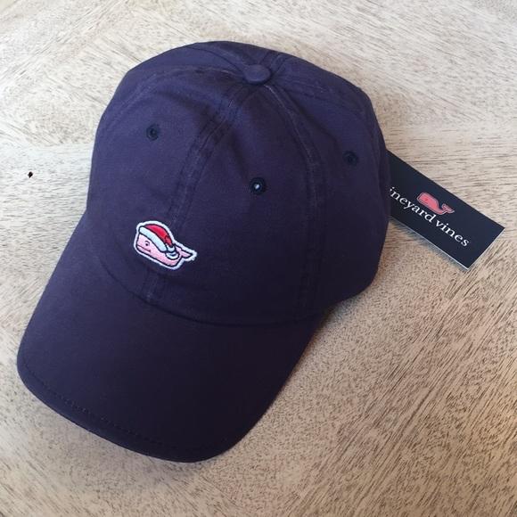VINEYARD VINES Santa Whale Mistletoe Navy Blue Baseball Men/'s Hat *NEW* XMAS